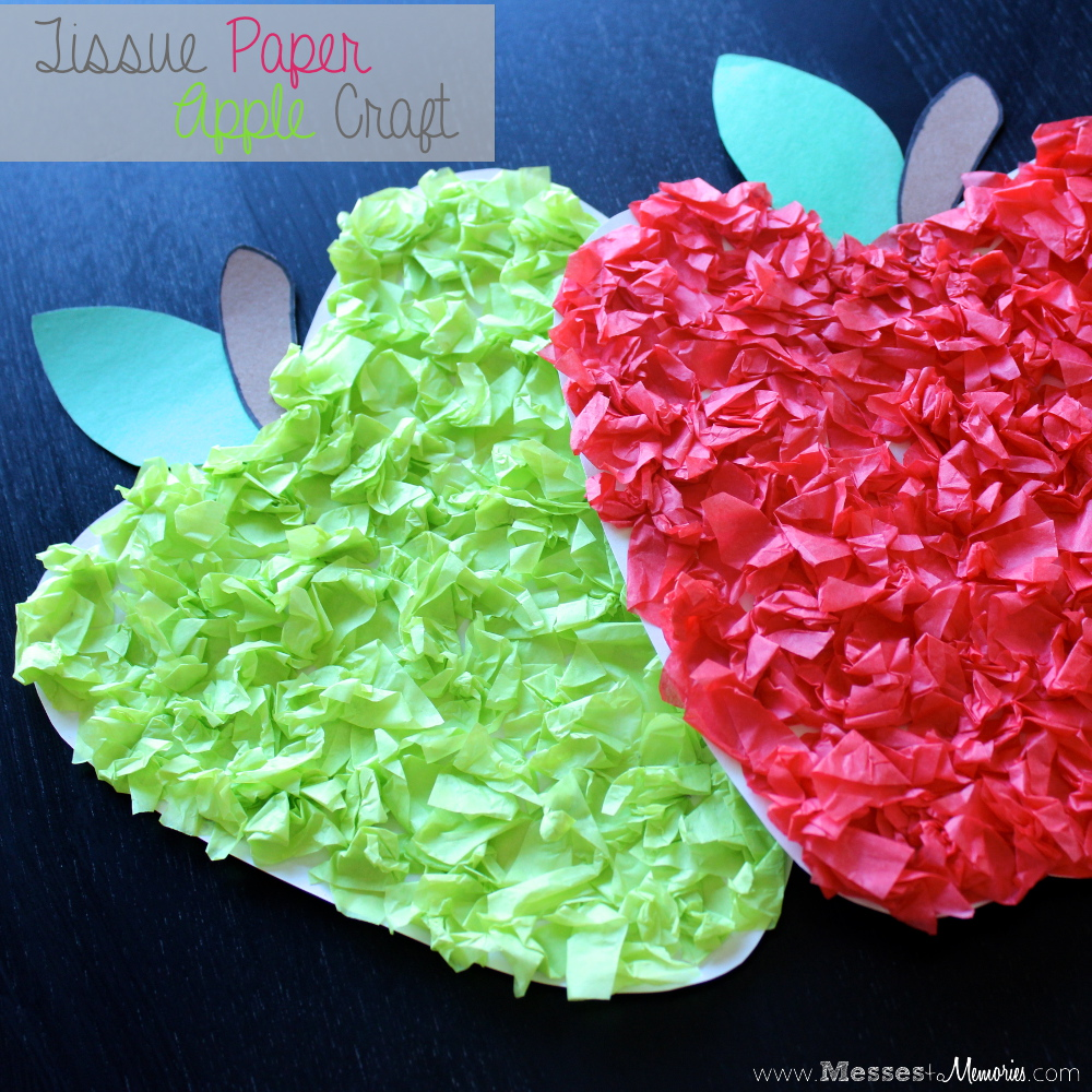 Tissue paper apple craft for Tissue paper for crafts