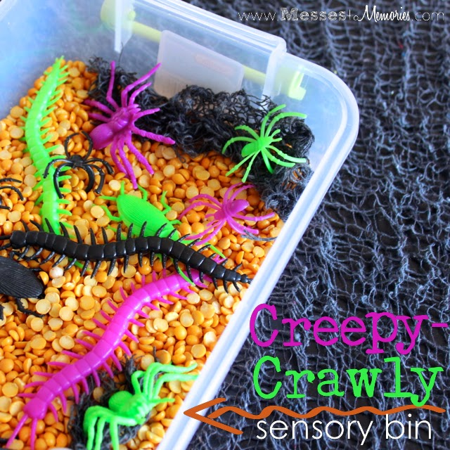A Creepy Crawly Halloween sensory bin from Messes to Memories
