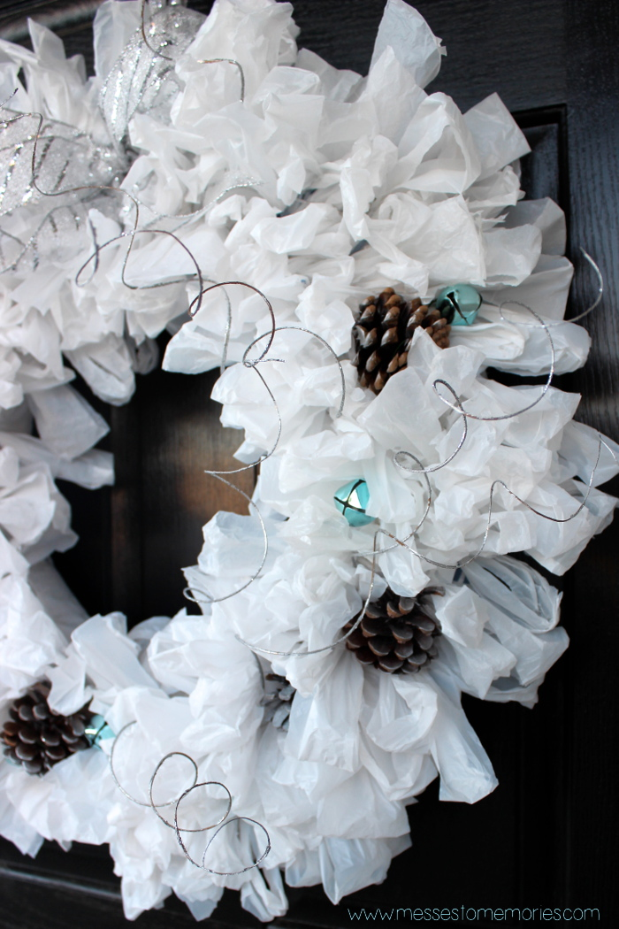 Gorgeous upcycled Winter Wreath made with plastic bags from Messes to Memories