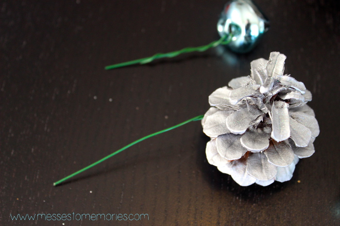 floral wire and pinecones:bells