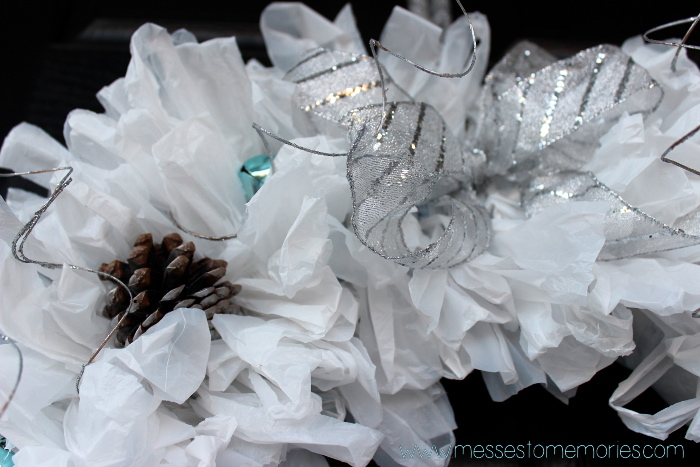 upcycled wreath close-up silver bow