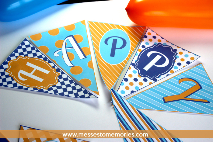 Blue and Orange Birthday Banner from Messes to Memories